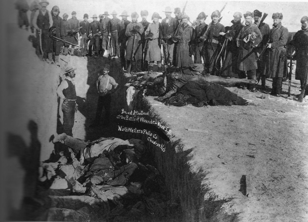 Mass grave for the dead Lakota after the conflict at Wounded Knee Creek